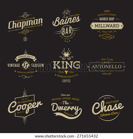 Vector vintage labels. Templates Set for banner, insignias, business brand design. - stock vector