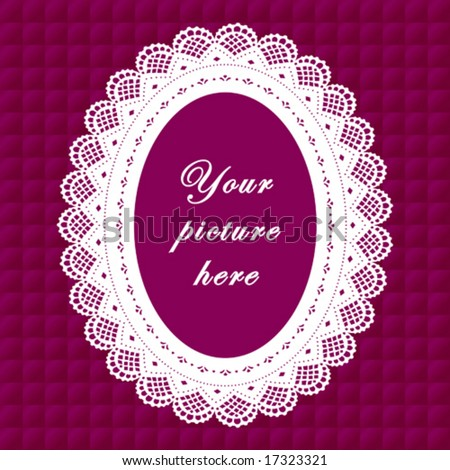 vector - Vintage Lace Frame, oval doily border, copy space, purple quilted background for albums, scrapbooks, holidays, do it yourself craft.  EPS8 has pattern swatch that seamlessly fills any shape. - stock vector
