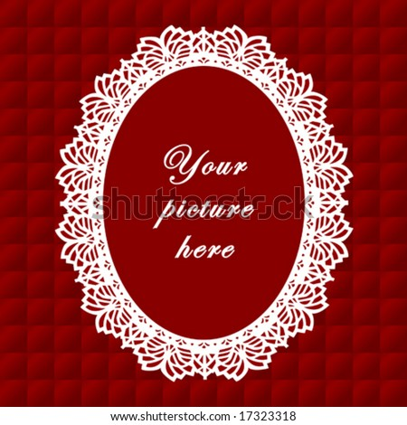 vector - Vintage Lace Frame, oval doily border, copy space, red quilted background for albums, scrapbooks, holidays, do it yourself craft.  EPS8 has pattern swatch that seamlessly fills any shape. - stock vector