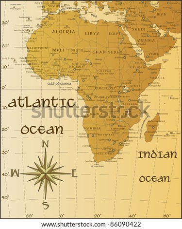 Vector vintage map of Africa - stock vector