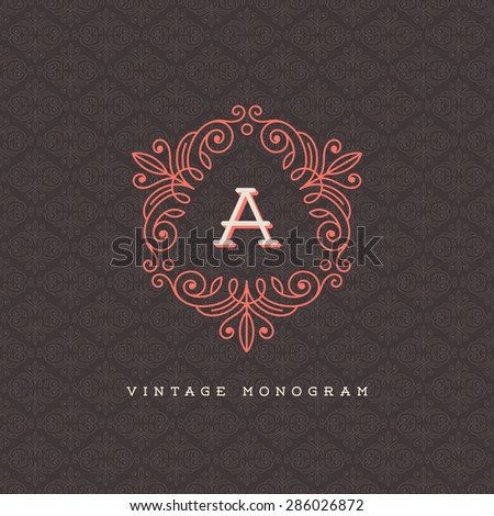 Vector vintage monogram logo template - flourishes calligraphic frame with letter on a ornamental pattern background - stock vector