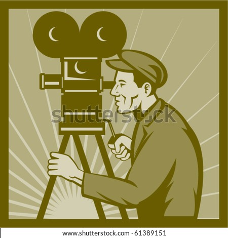 vector Vintage movie or television film camera and director - stock vector