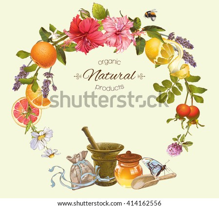 Vector vintage natural round frame with honey, hibiscus,citrus fruits and rose hip.Design for herbal and fruit tea, natural cosmetics,candy, grocery and health care products.Can be used as logo design - stock vector