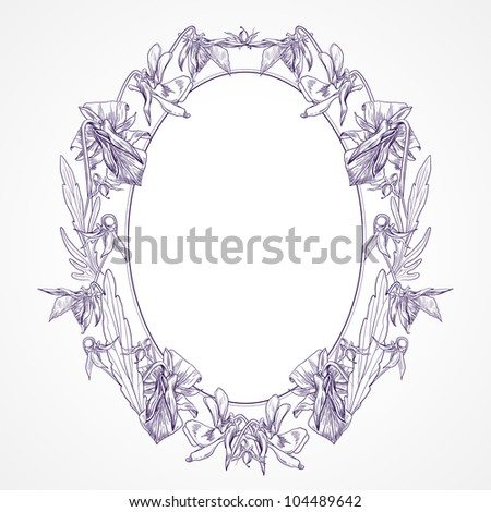 Vector vintage oval frame made of pansies - stock vector