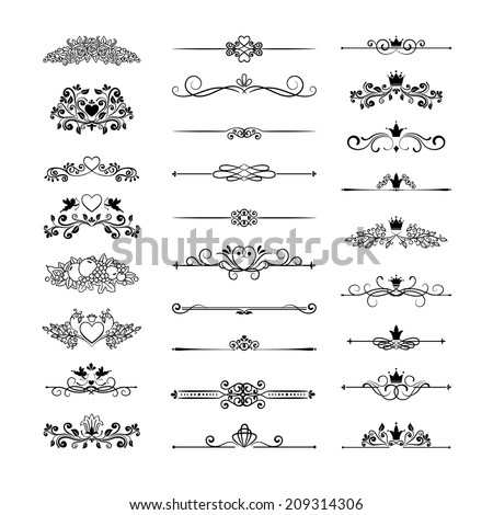 vector vintage page decor with crowns, arrows and floral elements - stock vector