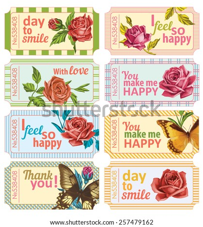Vector vintage paper tickets with roses and butterfly. Set of floral ticket, can be used for scrapbooking or like wedding elements or for valentine's day greeting cards - stock vector