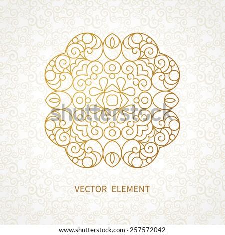 Vector vintage pattern in Eastern style. Ornate element for line art design. Ornamental pattern for wedding invitations, greeting cards. Traditional golden decor. Mandala. - stock vector