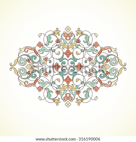 Vector vintage pattern in Eastern style. Ornate pastel element for design. Floral ornament for wedding invitations, greeting cards. Traditional outline decor. - stock vector