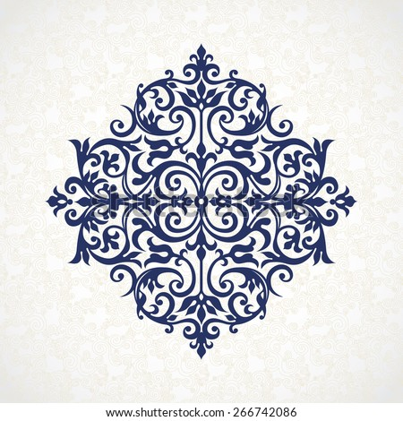 Vector vintage pattern in Victorian style. Ornate element for design. Ornament for wedding invitations, greeting cards. Traditional blue decor. Mandala. - stock vector