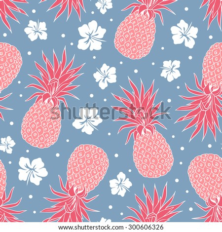 Vector Vintage pineapple seamless pattern with flowers
