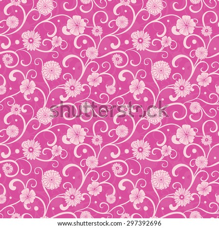 Vector Vintage Pink Flowers on Swirly Braches Seamless Pattern - stock vector