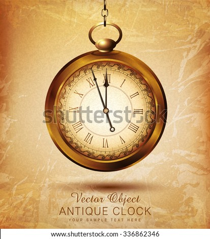 vector vintage pocket watch on an old grunge background - stock vector