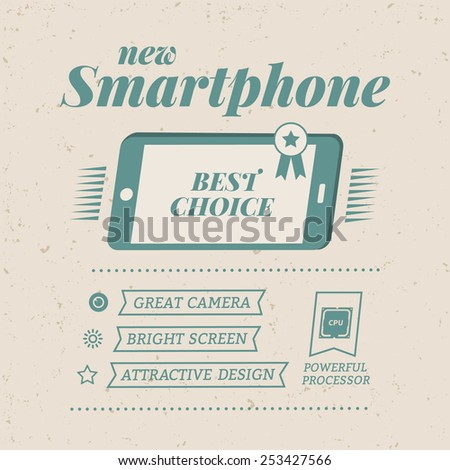 Vector vintage poster advertising smartphone. Vector template - stock vector