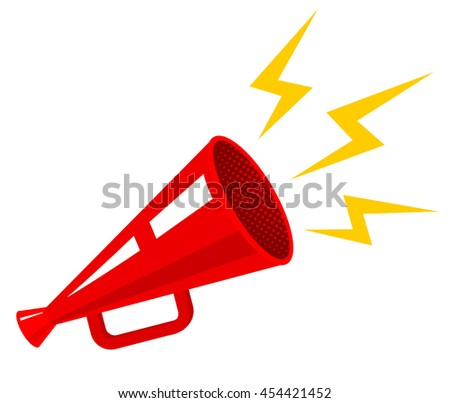 Vector vintage poster with megaphone - stock vector