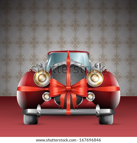 Vector vintage red car tied with red bow illustration - stock vector
