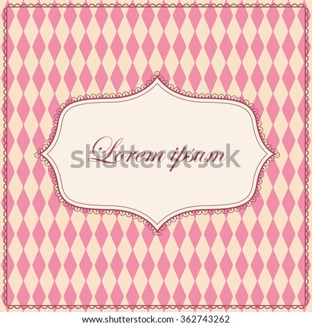 Vector vintage rhombuses pattern pink background with banner
