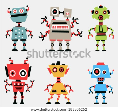 vector vintage robot set 1 - Separate layers for easy editing