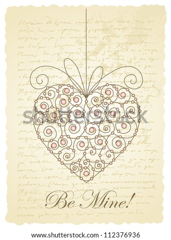 vector vintage romantic card with heart - stock vector