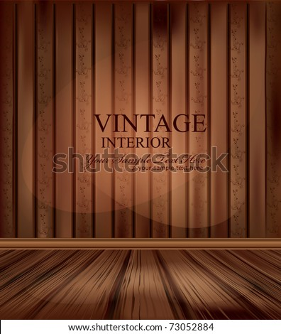 Vector vintage room with wooden floors and lighting - stock vector