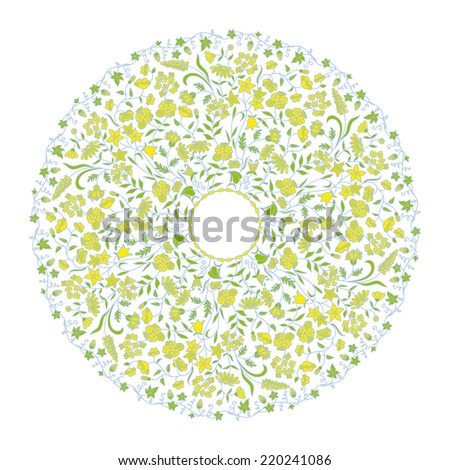Vector vintage round floral pattern for print, embroidery. - stock vector