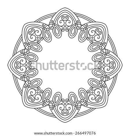Vector Vintage Round Frame. Hand Drawn Border in Trendy Linear Style. Wedding Decor - stock vector