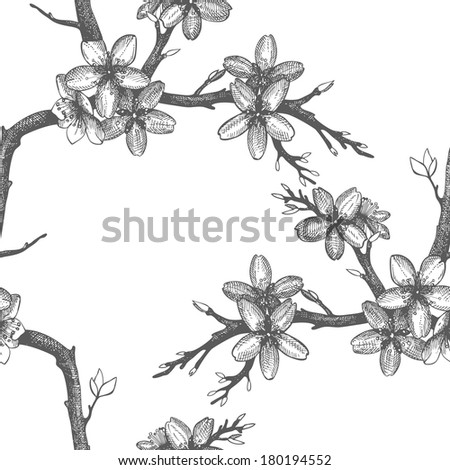 Vector vintage  seamless pattern with hand drawn blooming fruit tree twig. Spring flower illustration on white background - stock vector