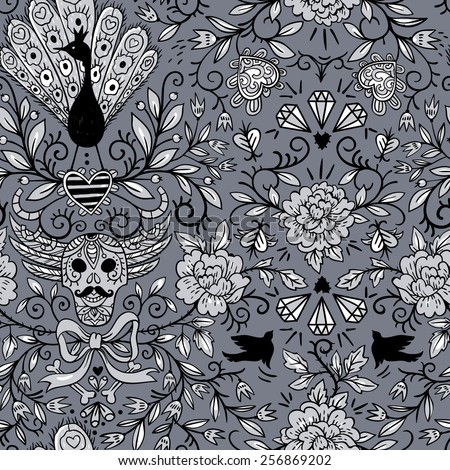 vector  vintage  seamless pattern with peacocks, skulls and roses