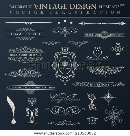 Vector vintage set. Calligraphic elements and page decoration premium quality collection design - stock vector