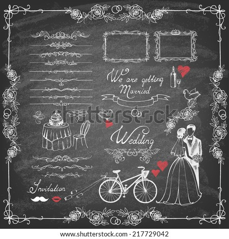 Vector vintage set of decorative wedding elements and hand drawn illustrations  on chalkboard. - stock vector