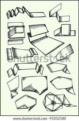 Vector vintage speech bubbles. Hand-drawn design elements