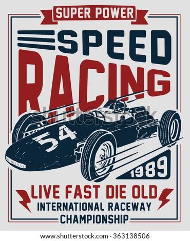 Vector vintage sport racing car, T-shirt Graphics, Vintage typography  - stock vector