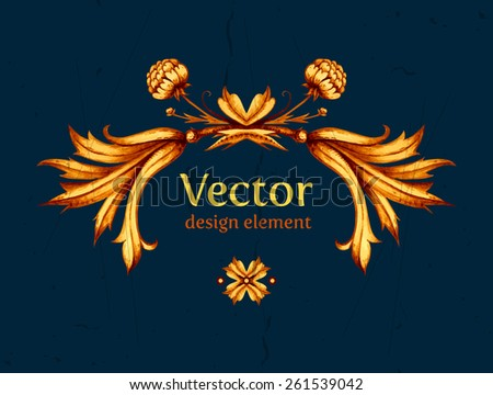 Vector vintage stock illustration. Horizontal banner. Vintage label. Vintage frame. Retro style. Gold floral design element. High quality Vector illustration. Vintage decorative element. Frame. - stock vector