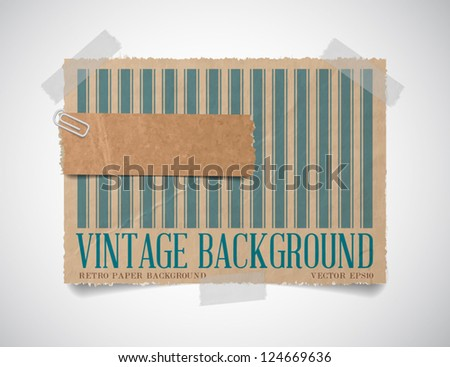 Vector vintage striped paper card template with a torn piece of old paper attached with a paper clip