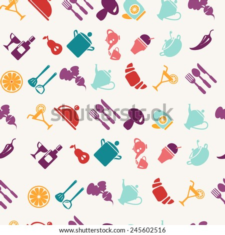 Vector vintage style Background of foods and tableware items pattern - stock vector