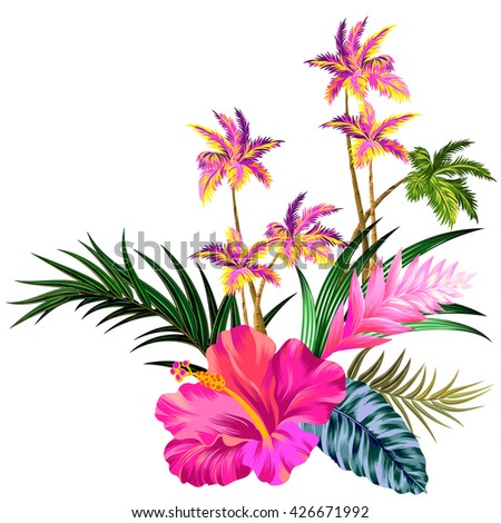 vector vintage style floral composition with palm trees. Editable gorgeous retro style botanical elements, happy colors, elegant layout - stock vector