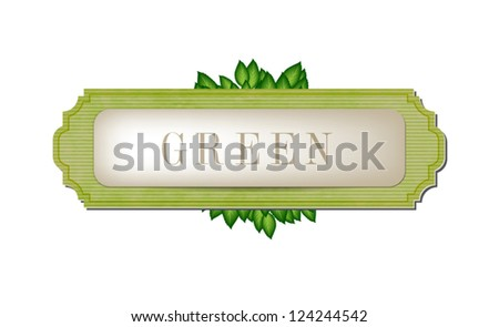 Vector vintage style paper textured label / banner with green leaves - stock vector