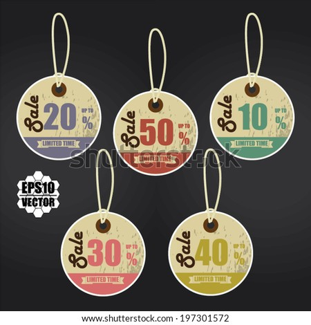 Vector: Vintage Style Sale Tags Design 10 - 50 Percent OFF Sale Price Tag Isolated On Black Background. - stock vector