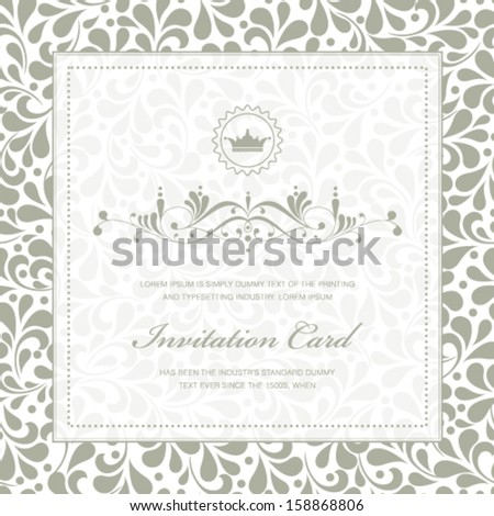 Vector vintage styled card with floral ornament background. Perfect as invitation or announcement. - stock vector