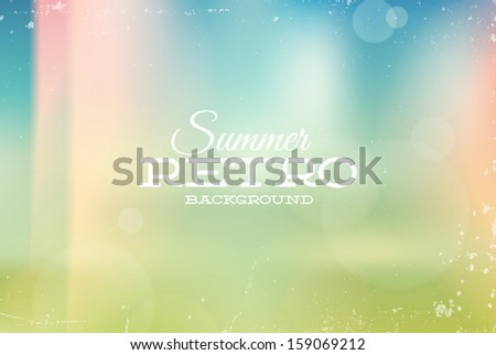 Vector vintage summer blurry unfocused background with light leaks - stock vector
