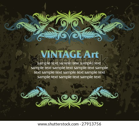 vector vintage template frame In flower style