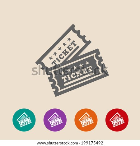 Vector Vintage Ticket Icon on background - stock vector