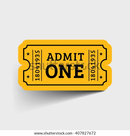 Vector Vintage Ticket Icon on grey background