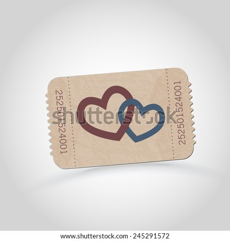 Vector vintage ticket - love theme  - stock vector