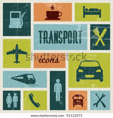 Vector vintage transport (traffic) poster - stock vector