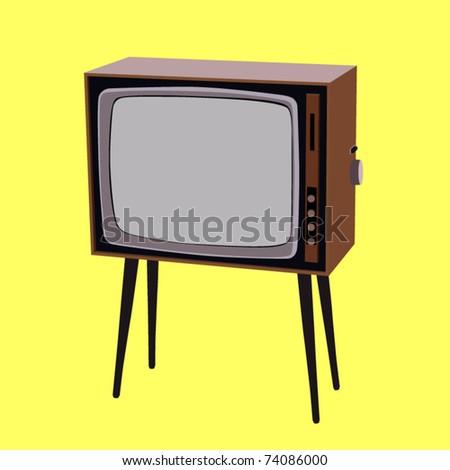 vector vintage tv set - stock vector