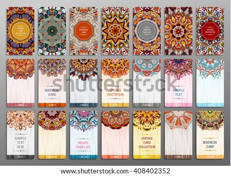 Vector vintage visiting card set. Floral mandala pattern and ornaments. Oriental design Layout. Islam, Arabic, Indian, ottoman motifs. Front page and back page. - stock vector