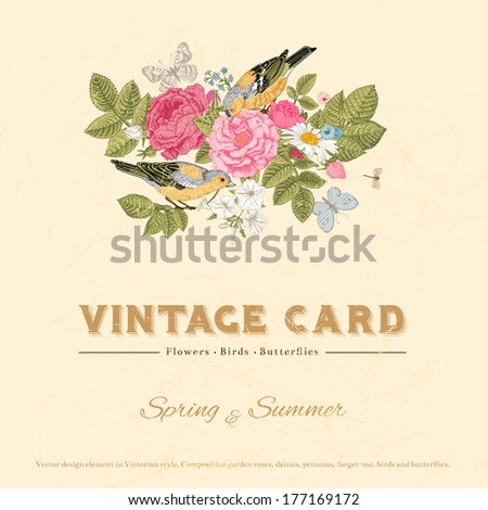 Vector vintage wedding card in Victorian style. Composition of colorful flowers on a beige background. Roses, birds, butterflies. Design element. - stock vector