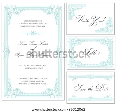 Vector Vintage Wedding Frame Set - for invitations or announcements - stock vector
