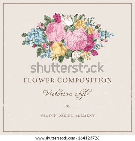 Vector vintage wedding postcard in Victorian style. Composition of colorful flowers on a gray background. Roses, tulips, delphinium. Design element. - stock vector