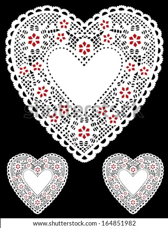 vector - Vintage White Lace Heart Doilies. Red stars, copy space for Valentines Day, Mothers Day, anniversary, birthday, Christmas, albums, scrapbooks, cake decorating. Isolated on black. EPS8.  - stock vector